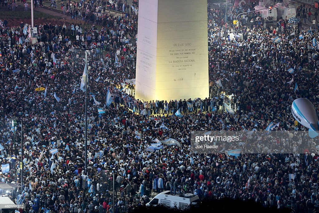 Argentine soccer fans fill an area near the Obelisco de Buenos Aires after the World Cup final on July 13, 2014 in Buenos Aires, Argentina. Germany won 1-0 for their fourth World Cup, played in Rio de Janeiro.