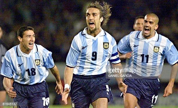 Argentine soccer star Gabriel Batistuta celebrates scoring the first goal against Chile 29 March at Monumental Stadium in Buenos Aires in their World...