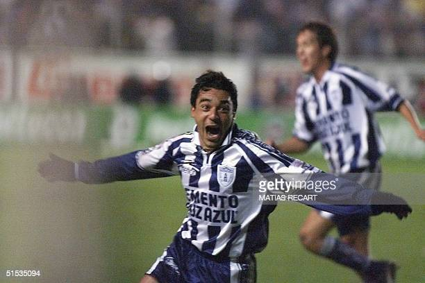 Argentine team Pachuca player Alejandro Laria celebrates after scoring the second goal against Cruz Azul 16 December during the first of two games in...