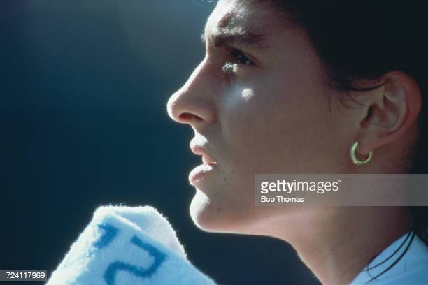 Argentine tennis player Gabriela Sabatini pictured during a break in action during competition in the Women's singles tennis event inside the Olympic...