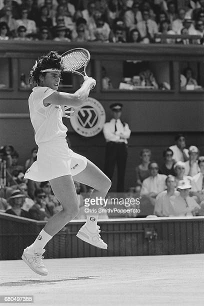 Argentine tennis player Gabriela Sabatini pictured in action against Steffi Graf in the final of the Women's Singles tournament at the Wimbledon Lawn...