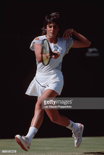 Argentine tennis player Gabriela Sabatini pictured in action during competition to reach the semifinals of the Women's Singles tournament at the...