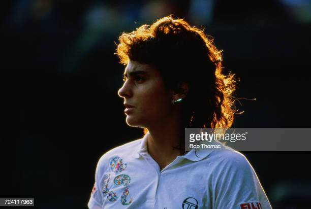 Argentine tennis player Gabriela Sabatini pictured in action during competition to reach the second round of the Women's Singles tournament at the...