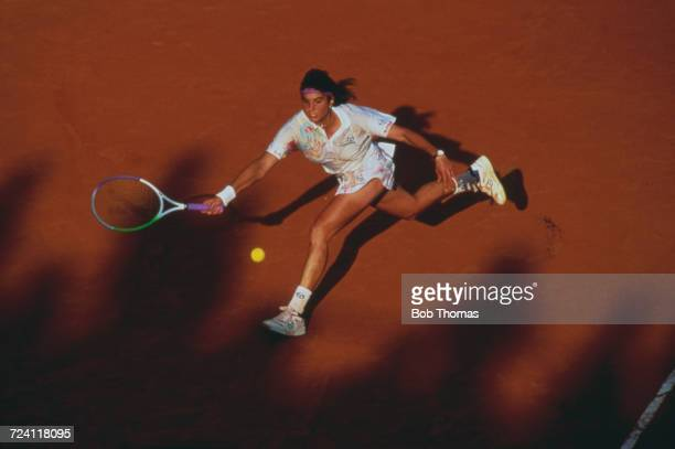 Argentine tennis player Gabriela Sabatini pictured in action competing during progress to reach the quarterfinals of the Women's Singles tournament...
