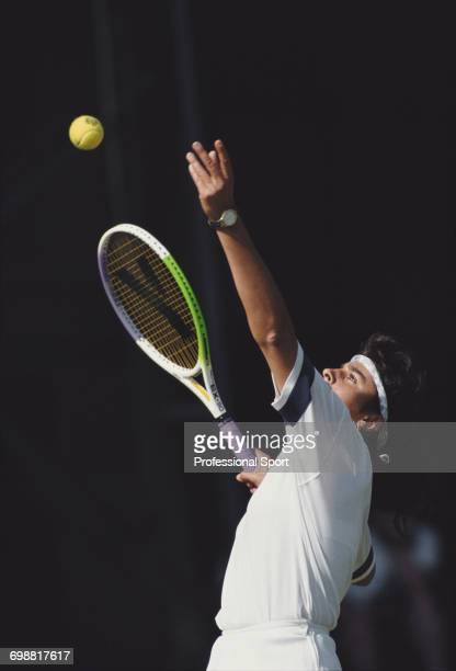 Argentine tennis player Gabriela Sabatini pictured in action to reach the quarterfinals of the Women's Singles tournament at the Wimbledon Lawn...