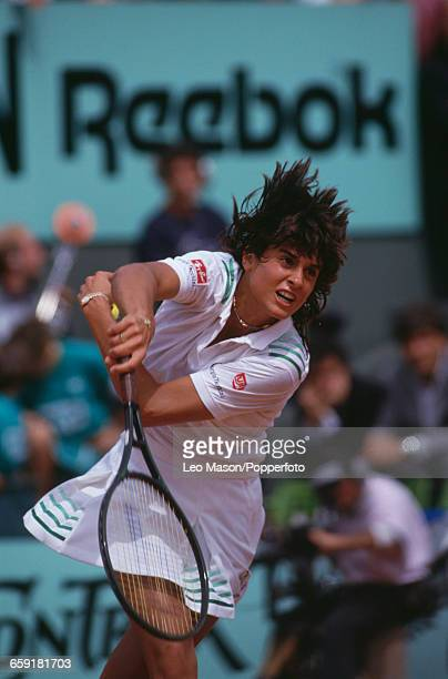 Argentine tennis player Gabriela Sabatini pictured in action competing to reach the semifinals of the Women's Singles tournament at the 1987 French...