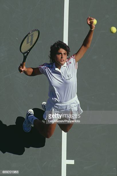 Argentine tennis player Gabriela Sabatini pictured in action competing to reach the quarterfinals of the 1987 US Open Women's Singles tennis...