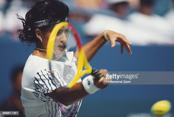 Argentine tennis player Gabriela Sabatini pictured in action competing to reach the semifinals of the 1994 US Open Women's Singles tennis tournament...