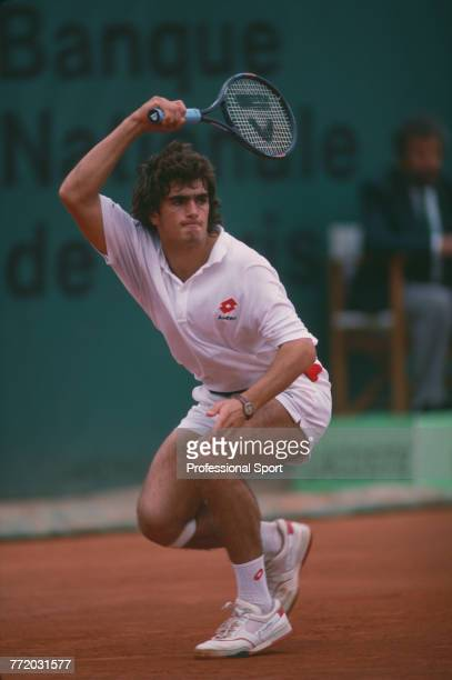Argentine tennis player Guillermo Perez Roldan pictured in action during competition to reach the quarterfinals of the Men's Singles tournament at...