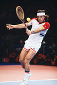 Argentine tennis player Guillermo Vilas pictured in action competing in the Men's Singles tournament at the 1978 Benson Hedges Championships at...