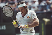 Argentine tennis player Guillermo Vilas pictured in action during competition to reach the fourth round of the 1980 US Open Men's Singles tennis...