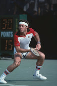 Argentine tennis player Guillermo Vilas pictured in action during competition to progress to reach the fourth round of the 1978 US Open Men's Singles...