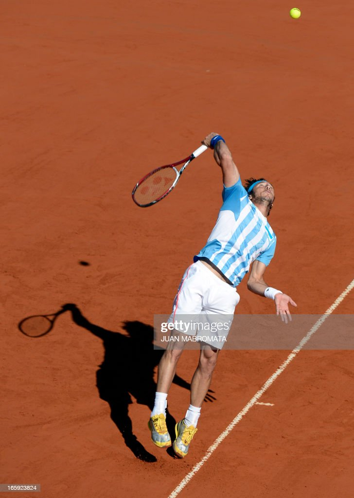 Argentine tennis player Juan Monaco returns the ball to French tennis player Jo-Wilfried Tsonga during the Davis Cup quarterfinals tennis match at Mary Teran de Weiss stadium in Roca Park in Buenos Aires on April 7, 2013.
