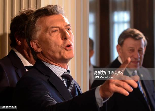 Argentinean President Mauricio Macri is pictured during the Global Conference on Noncommunicable diseases at Mercosur headquarters in Montevideo on...