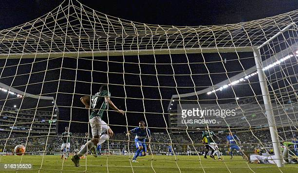 Argentinean Racing Club forward Lisandro Lopez scores a goal against Colombia's Deportivo Cali during their Copa Libertadores 2016 tournament...