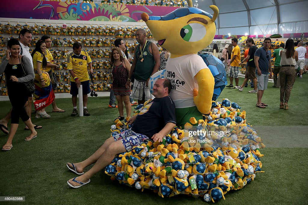 Argentinean soccer team fan, Cesar Olmo, relaxes among stuffed toys for sale at the FIFA Fan Fest tent setup on Copacabana beach while waiting for the start of the 2014 FIFA World Cup on June 11, 2014 in Rio de Janeiro, Brazil. Brazil continues to prepare to host the World Cup which starts on June 12th and runs through July 13th.