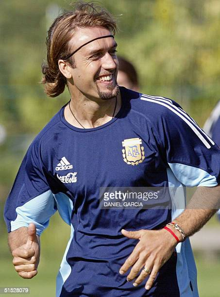 Argentine's forward Gabriel Batistuta runs 09 June 2002 during the afternoon training session at JVillage Naraha practice camp Argentina plays...