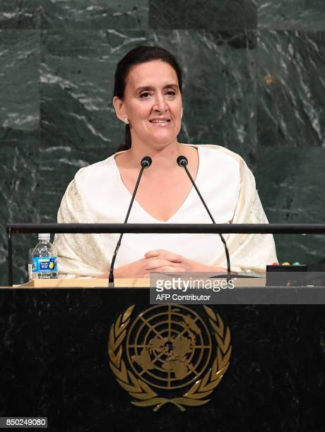 Argentine's Vice President Marta Gabriela Michetti Illia addresses the 72nd UN General Assembly on September 20 at the United Nations in New York /...