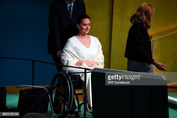 Argentine's Vice President Marta Gabriela Michetti Illia arrives to address the 72nd UN General Assembly on September 20 at the United Nations in New...