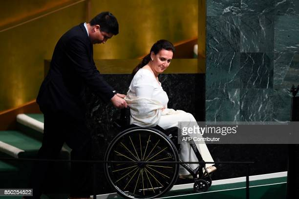 Argentine's Vice President Marta Gabriela Michetti leaves after addressing the 72nd Session of the United Nations General assembly at the UN...
