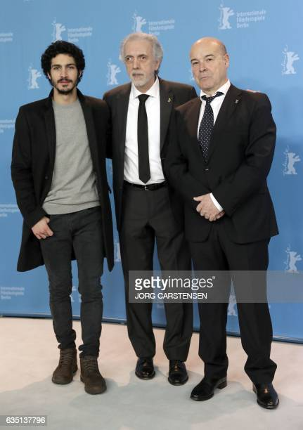 Argentinian actor Chino Darin Spanish filmmaker Fernando Trueba and Spanish actor Antonio Resines pose during a photocall for the film 'The Queen of...
