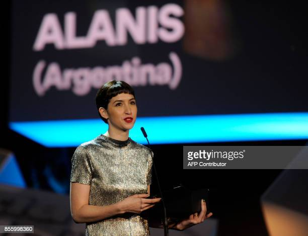 Argentinian actress Sofia Gala Castiglione holds her 'Concha de Plata' best actress award for her role in the film 'Alanis' during the 65th San...
