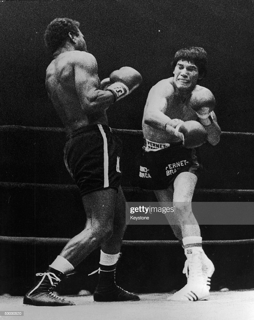 Argentinian boxer Carlos Monzon, right, during his fight with Mexican Jose Napoles, 11th February 1974. Monzon won the fight after six rounds to retain his world middleweight title.