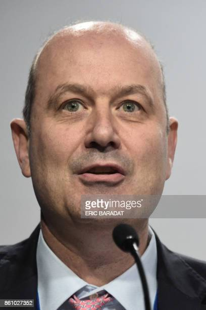 Argentinian Central Bank governor Federico Sturzeneger give a press conference at the World Bank and International Monetary Fund annual meetings on...