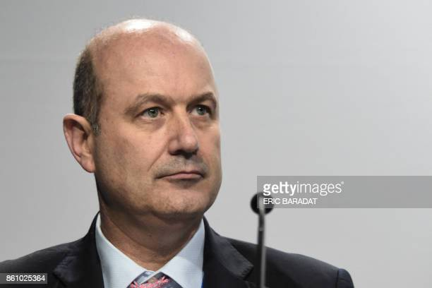 Argentinian Central Bank governor Federico Sturzeneger gives a press conference at the World Bank and International Monetary Fund annual meetings on...