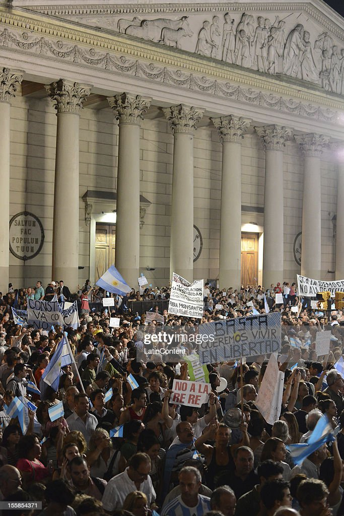Argentinian citizens march in a protest against the government of Cristina Kirchner at Plaza de Mayo on November 08, 2012 in Buenos Aires, Argentina. This protest is also known as 8N, as it is held on November 8th. Protestors have conducted the build-up of the march via Internet's major social networks.