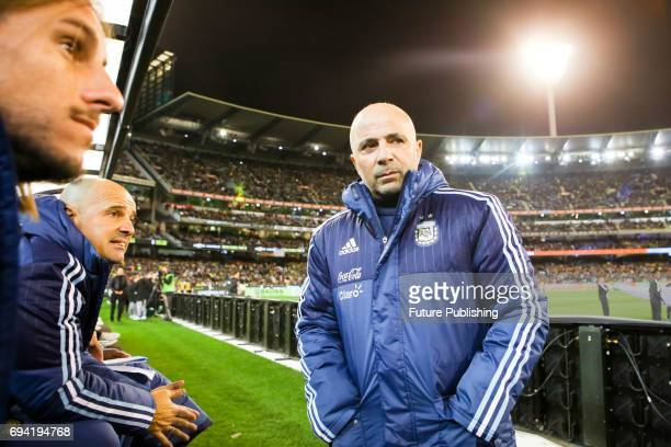 Argentinian coach Jorge Sampaoli before Argentina plays Brazil in the Chevrolet Brasil Global Tour on June 9 2017 in Melbourne Australia Chris Putnam...