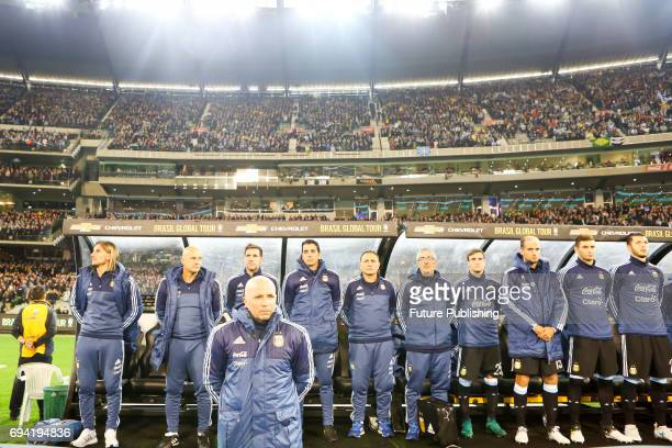 Argentinian coach Jorge Sampaoli before Argentina plays Brazil in the Chevrolet Brasil Global Tour on June 9 2017 in Melbourne Australia Chris Putnam...