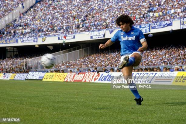 Argentinian Diego Maradona in action for Napoli