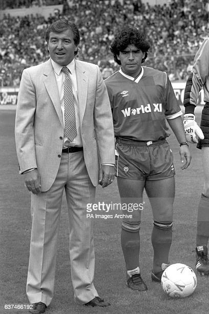 Argentinian Diego Maradona with Manager Terry Venables at Wembley Stadium months after his 'Hand of God' knocked England out of the World Cup in...