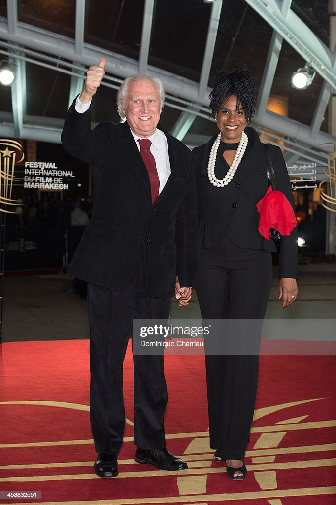 Argentinian director Fernando Solanas and his wife Brazilian actress Angela Correa attend his Tribute during the 13th Marrakech International Film Festival on December 5, 2013 in Marrakech, Morocco.