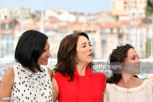 Argentinian director Valeria Pivato Chilean actress Paulina Garcia and Argentinian actress Cecilia Atan pose on May 26 2017 during a photocall for...