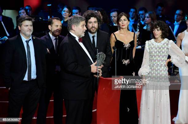 Argentinian film director Gaston Duprat Argentinian film director Mariano Cohn and other team members receive the best LatinAmerican film award for...