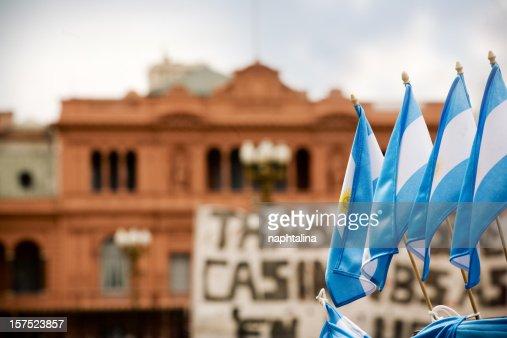 Argentinian flags and Casa Rosada