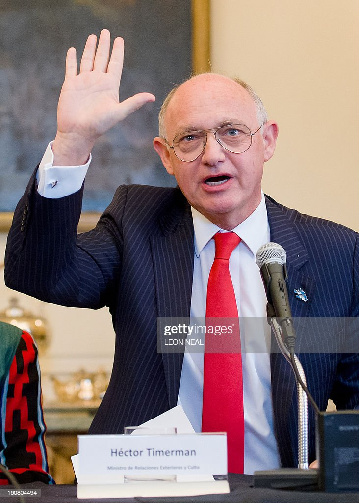 Argentinian Foreign Minister Hector Timerman addresses a press conference in central London, on February 6, 2013. Argentina expects to have control of the British-held Falkland Islands within 20 years, the country's foreign minister said in comments published on Tuesday. AFP PHOTO / LEON NEAL