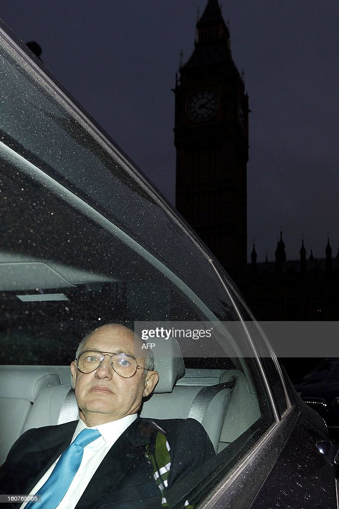 Argentinian Foreign Minister Hector Timerman leaves in a car from Britain's Houses of Parliament in London, on February 5, 2013. Argentina expects to have control of the British-held Falkland Islands within 20 years, the country's foreign minister said in comments published on February 5. During a visit to London, Timerman said in a joint interview with The Independent and The Guardian newspapers that Argentina would not take military action but that Britain would be forced to compromise soon.