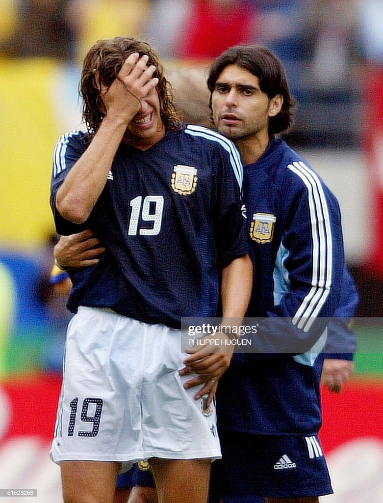 Argentinian forward Hernan Crespo L is forted