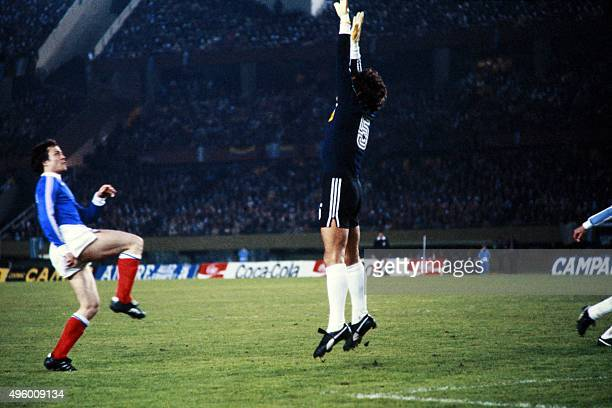 Argentinian goalkeeper Ubaldo Fillol jumps during the 1978 World Cup football match between France and Argentina on June 6 1978 AFP PHOTO