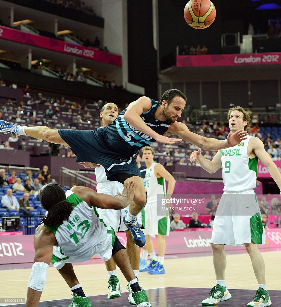 Argentinian guard Emanuel Ginobili (top) vies with Brazilian centre Nene Hilario during their London 2012 Olympic Games men's quarterfinal basketball match in London on August 8, 2012. AFP PHOTO /MARK RALSTON
