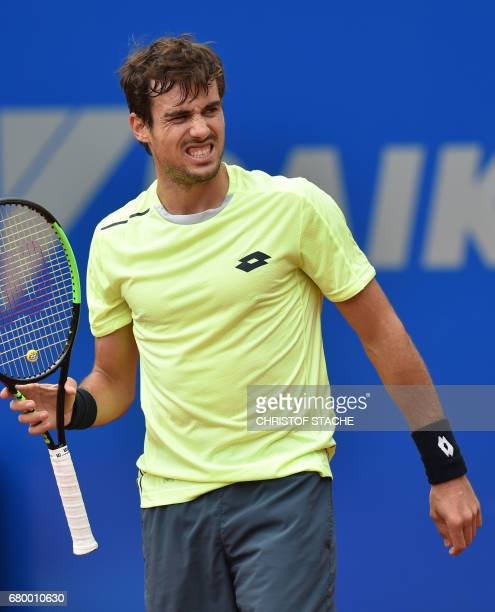 Argentinian Guido Pella reacts during his final match against German Alexander Zverev at the ATP tennis BMW Open in Munich southern Germany on May 7...