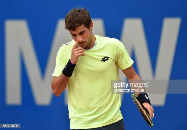 Argentinian Guido Pella wipes his nose during his final match against German Alexander Zverev at the ATP tennis BMW Open in Munich southern Germany...