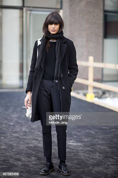 Argentinian model Mica Arganaraz exits Hugo Boss on Day 8 of NYFW FW15 February 18 2015 in New York City