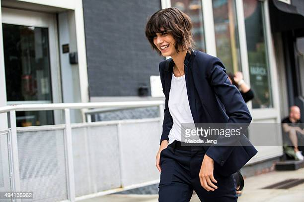Argentinian model Mica Arganaraz exits the Lacoste show at Spring Studios on September 12 2015 in New York City Mica wears dark blue suit jacket and...