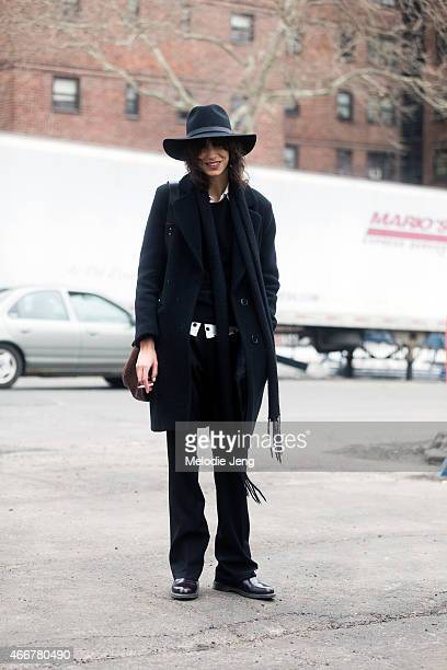 Argentinian model Mica Arganaraz exits the Lacoste show in vintage and Sandro on February 14 2015 in New York City