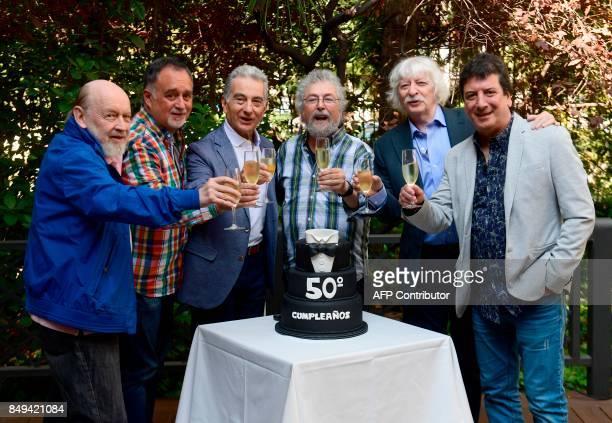 Argentinian musicians 'Les Luthiers' Marcos Mundstock Martin O'Connor Jorge Maronna Carlos Nunez Cortes Carlos Lopez Puccio Horacio Turano celebrate...