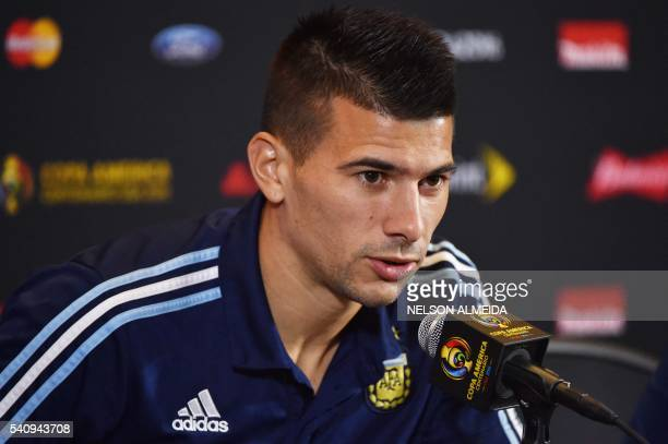 Argentinian player Victor Cuesta addresses a press conference at Gillette Stadium in Boston Massachusetts on June 17 2016 Argentina will face...